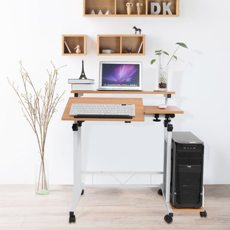 Modern Adjule Height Mobile Laptop Computer Standing Desk With Keyboard Tray Table Pc