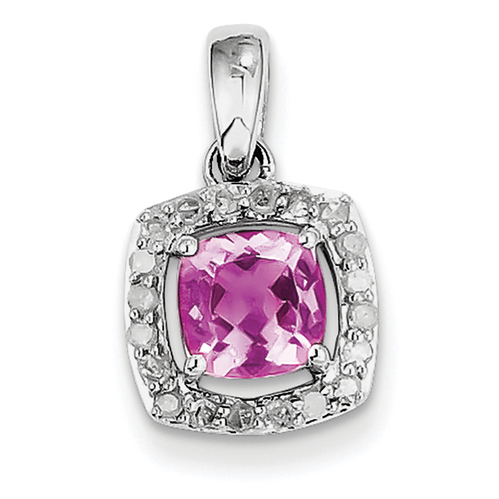 925 Sterling Silver Rhodium-plated Diamond & Pink Tourmaline Square (10x19mm) Pendant   Charm by