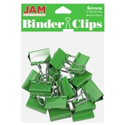 JAM Colorful Binder Clips, Medium, 1 1/4 Inch (32 mm), Green Binderclips, 15/Pack