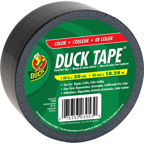 ShurTech Brands, LLC 392875 Duck Tape Colored Duct Tape-BLACK DUCK TAPE