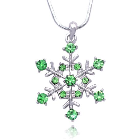 cocojewelry Snowflake Pendant Necklace Bridesmaid Christmas Holiday Jewelry