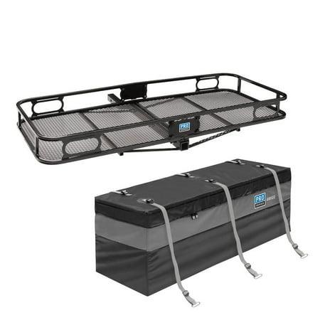 Cargo Utility Trailers (Pro Series Rambler Trailer Mounted Hitch Cargo Carrier Basket + Storage Bag )