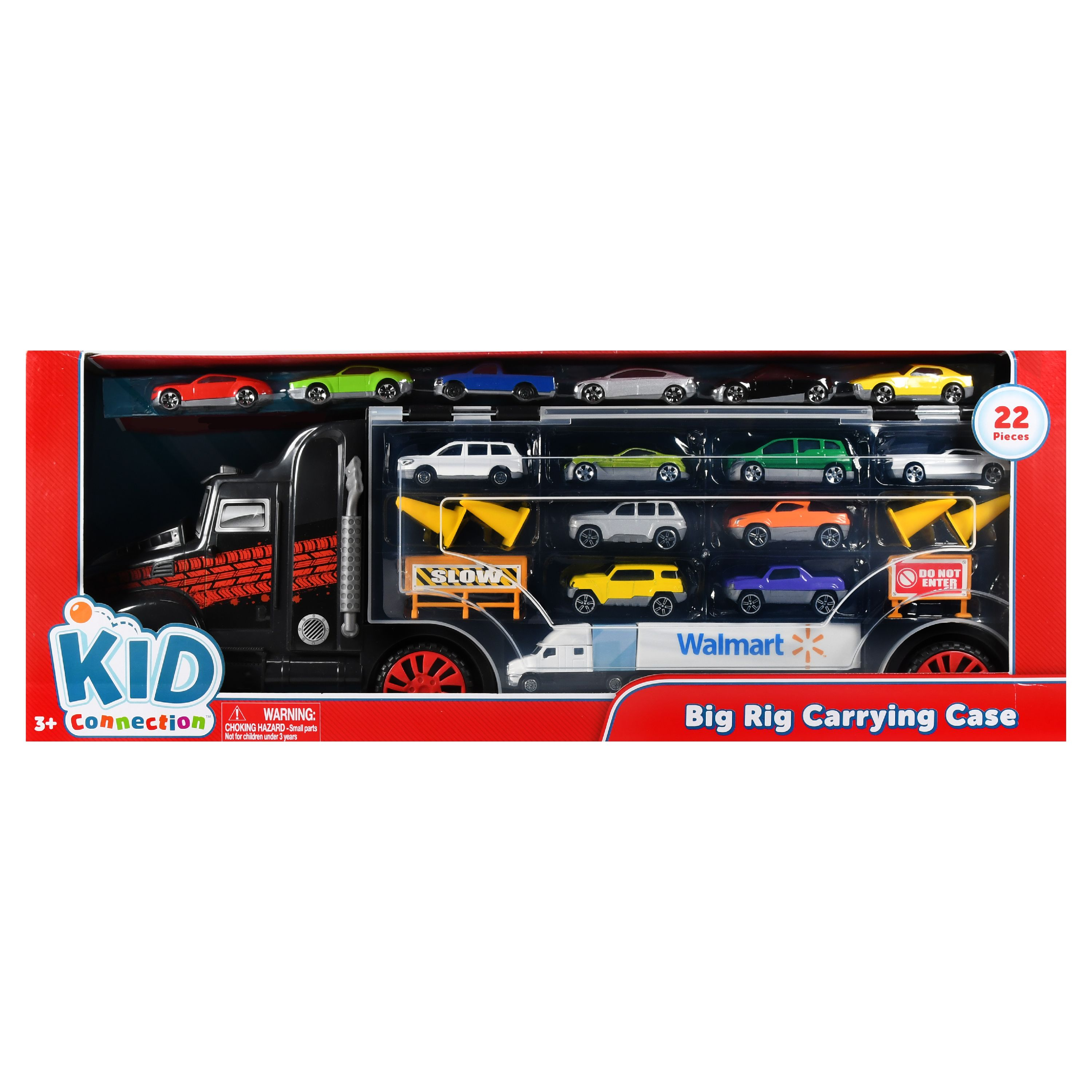 Kid Connection 24-Piece Big Rig Carrying Case with Toy Cars