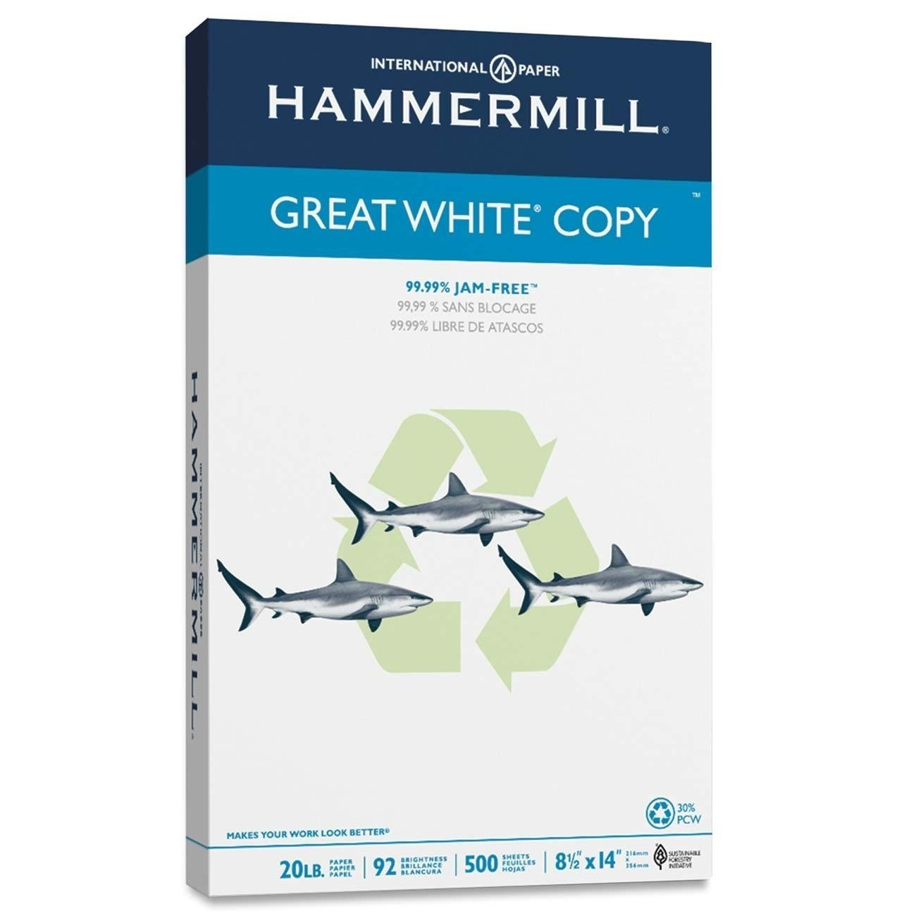 Hammermill 8.5 x 14 Great White Recycled Copy Paper 92 Brightness 20lb 500/Ream (86704)