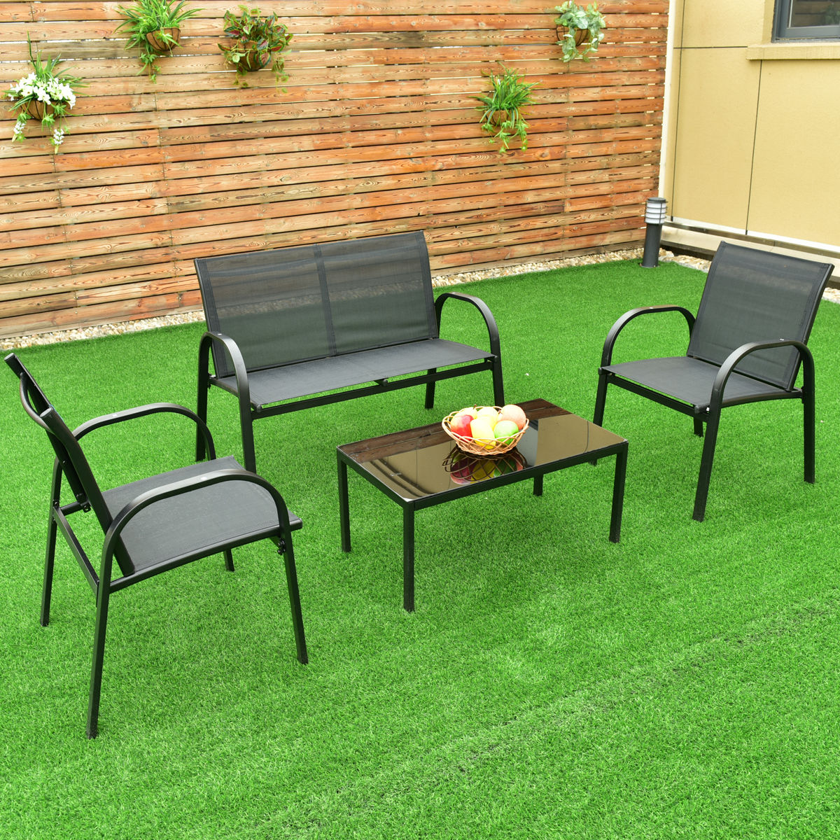Merveilleux Costway 4 PCS Patio Furniture Set Sofa Coffee Table Steel Frame Garden Deck  Black