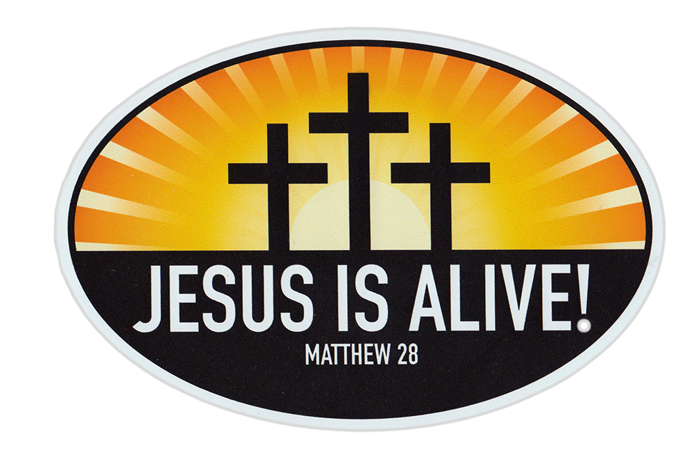 Magnetic bumper sticker jesus is alive matthew 29 religious church oval