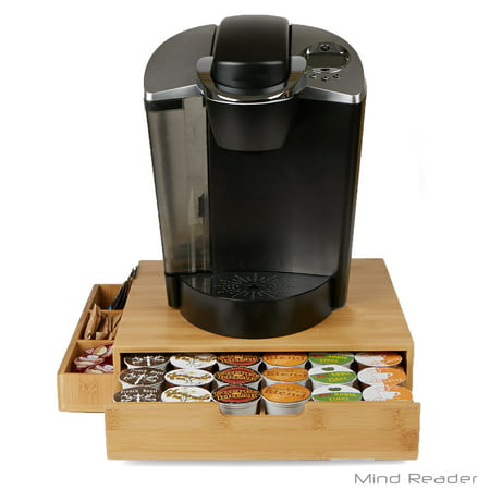 Mind Reader Bamboo 36 Capacity K-Cup Single Serve Coffee Pod Drawer with Side Condiment Caddy Organizer, Brown