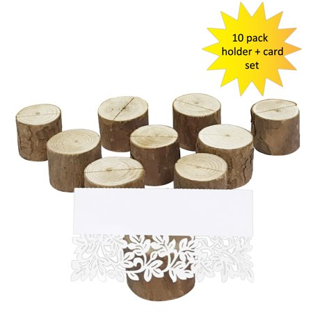 Wrapables® Rustic Wooden Place-Card Holders with Table Name Place Cards for Wedding, Parties, Holidays, Special Events Table Decor (Set of 10)