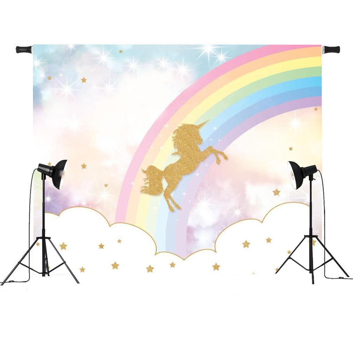 7x5FT/3x5FT Rainbow Sky Gold Unicorn Stars Baby Custom Photo Background Backdrop Vinyl,150*210cm color