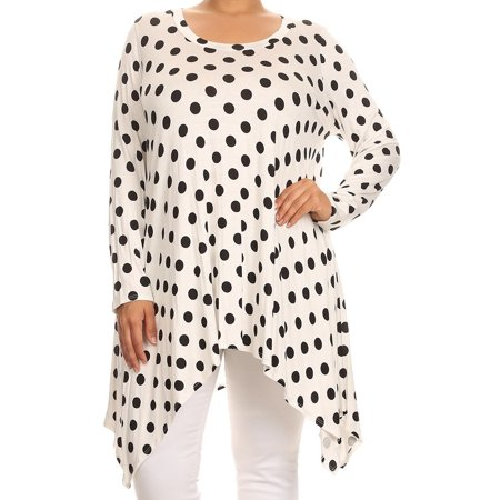 BNY Corner Women Plus Size Small Polka Dot Asymmetrical Casual Tunic Top Shirt White XL (D396 Small