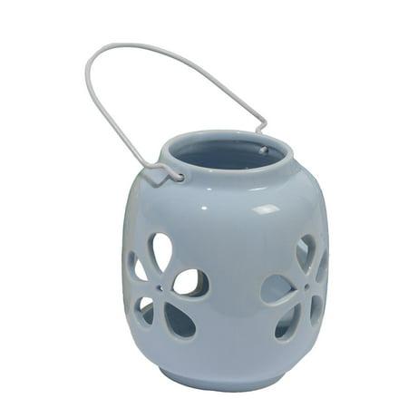 "5.25"" Capri Boulevard Pastel Spring Blue Flower Tea Light Candle Holder"