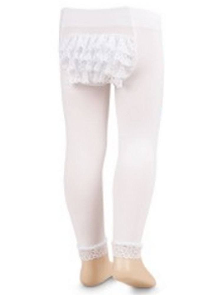 Jefferies Socks Girls White Microfiber Rhumba Footless Tights