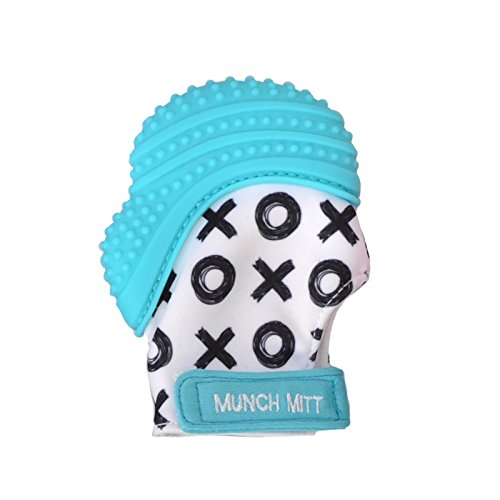 Munch Mitt Teething Mitten the Original Mom Invented Teething Toy- Teether Stays on Babys Hand for Pain Relief & Stimulation- Ideal Baby Shower Gift with Handy Travel/Laundry Bag- Aqua Blue XO