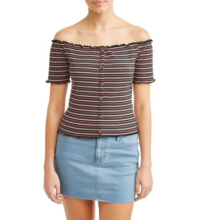 Juniors' Striped Button Front Off the Shoulder Rib Knit Top