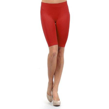 Women Basic Solid Biker Short Seamless Yoga Leggings Workout Boyshorts - (Red)