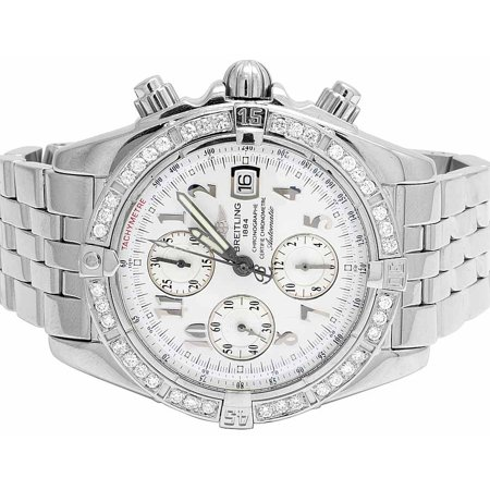 Breitling Breitling A13356 Evolution Chronomat White Dial with Diamonds (3 Ct) Mens Breitling A13356 Evolution Chronomat 43 MM White Dial Diamond Watch (3 Ct)