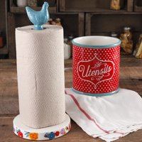 The Pioneer Woman Flea Market Paper Towel Holder and Utensil Crock, Turquoise