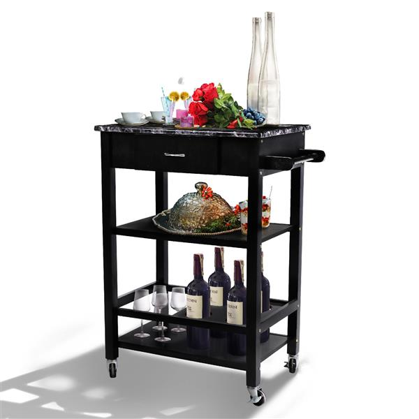 Yaheetech 3-Tier Wooden Faux Marble Kitchen Buffet Serving Cart Bar Wine Bottle Storage w/Lockable Wheels