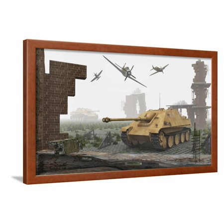 American P-47 Fighter Planes Attacking German Jagdpanther Tanks Framed Print Wall Art