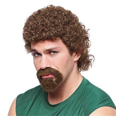 Mens 80s Curly Afro Mullet Kenny Powers Eastbound Down Costume Wig & Goatee Beard, Brown (Eastbound And Down Halloween Costumes)