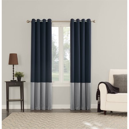 sun zero plymouth colorblock energy efficient curtain panel 54 39 x 63 39 navy blue. Black Bedroom Furniture Sets. Home Design Ideas