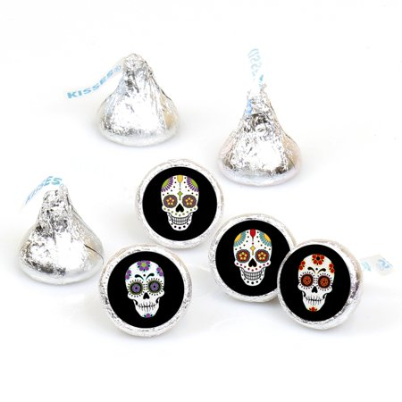 Day Of The Dead - Halloween Sugar Skull Party Round Candy Sticker Favors - Labels Fit Hershey's Kisses (1 sheet of 108)](Sugar Candy Skull Halloween Makeup)