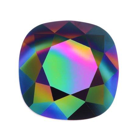 Swarovski Crystal, #4470 Cushion Fancy Stone 12mm, 1 Piece, Crystal Rainbow Dark Foiled