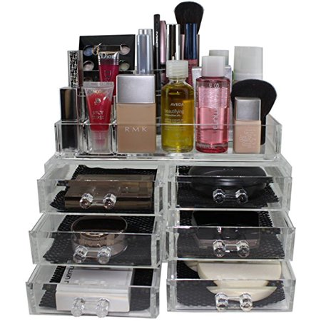 Clear Acrylic Cosmetics Makeup Organizer 6 Drawers with 8 Compartments Top Section B11706