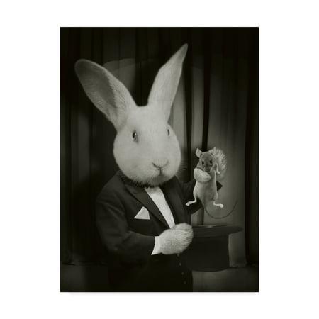 Trademark Fine Art 'Rabbit Magician BW' Canvas Art by J Hovenstine Studios