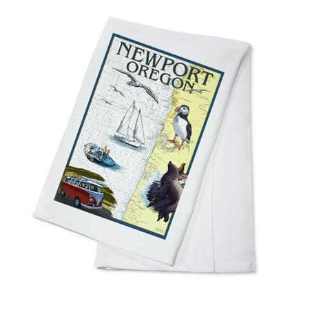 Newport, Oregon - Nautical Chart - Lantern Press Poster (100% Cotton Kitchen (Best Nautical Chart App)