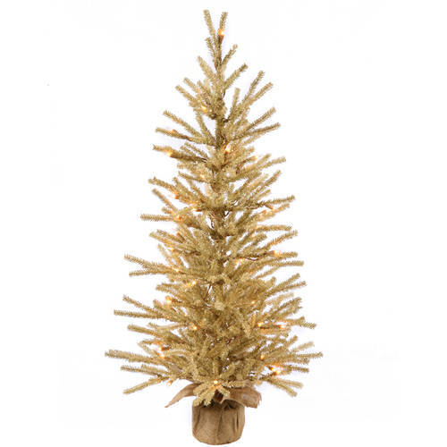 "Vickerman 48"" Champagne Artificial Christmas Tree with 100 Warm White LED Lights"