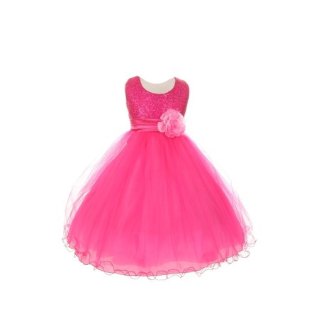 Little Girls Fuchsia Sequin Mesh Flower Sash Special Occasion Dress 4
