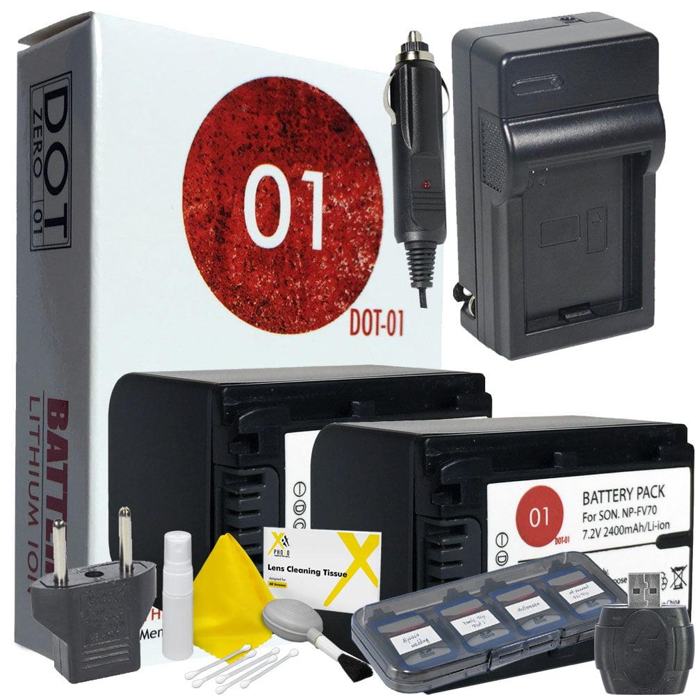 2x DOT-01 Brand 2400 mAh Replacement Sony NP-FV70 Batteri...