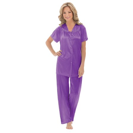 Women's Floral Embroidery Tricot Pajama Set, Xx-Large, Purple - Pink Footie Pajamas