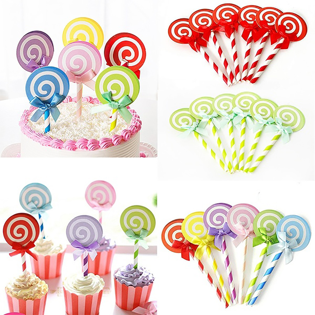 Moderna 6Pcs Colorful Ribbon Lollipop Paper Cake Topper Birthday Party Cupcake Decor