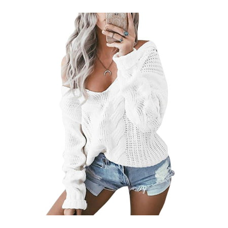 2018 NEW Womens Sexy V Neck Oversized Baggy Jumper Knitted Warm Chunky Sweater