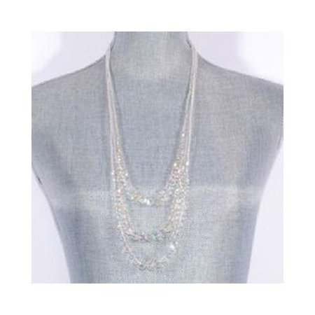 Pack of 2 Jacqueline Kent Clear Crystal Fashion Jewelry 3 Layer Necklace (Kmc Z72 1 2 X 3 32)