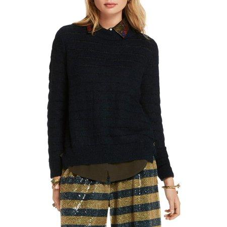 Scotch & Soda Womens Wool Open Stitch Pullover Sweater Navy L (Scotch And Soda Sweater)