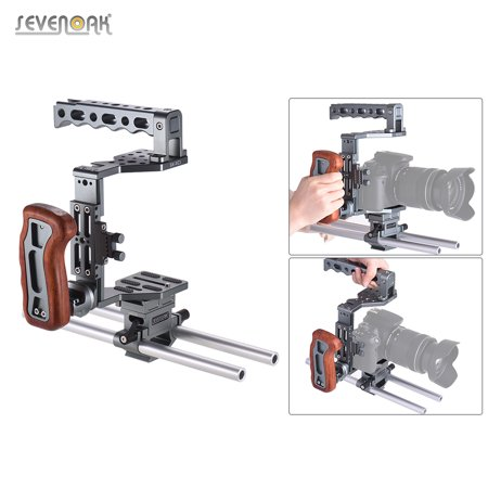 Streaming Video Cache (SEVENOAK SK-XC1 Universal DSLR Camera Cage 15mm Rod Baseplate Kit Aluminum Alloy with Wooden Handle Video Film Movie Making Stabilizer System )