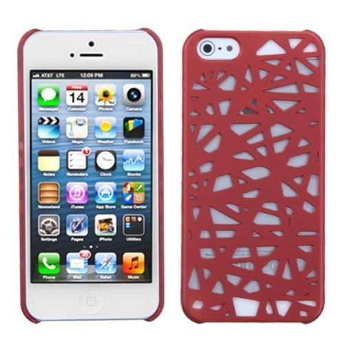Insten Red Bird's Nest Back Case (Rubberized) For iPhone SE 5S 5