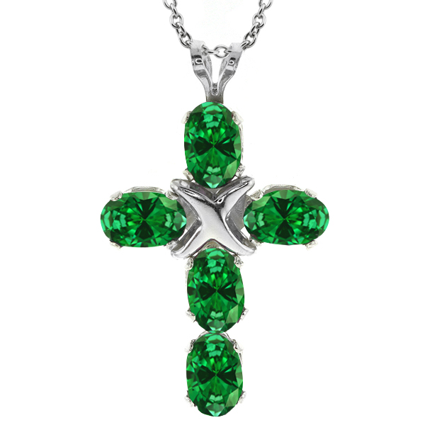 3.40 Ct Oval Green Simulated Emerald 925 Sterling Silver Pendant With Chain