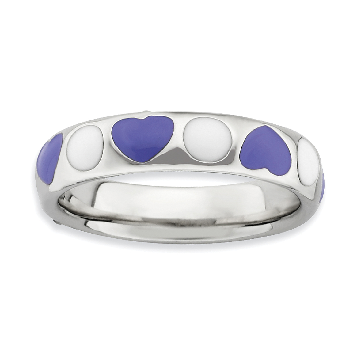 Roy Rose Jewelry Sterling Silver Stackable Expressions Polished Purple/White Enameled Ring ~ Size 8