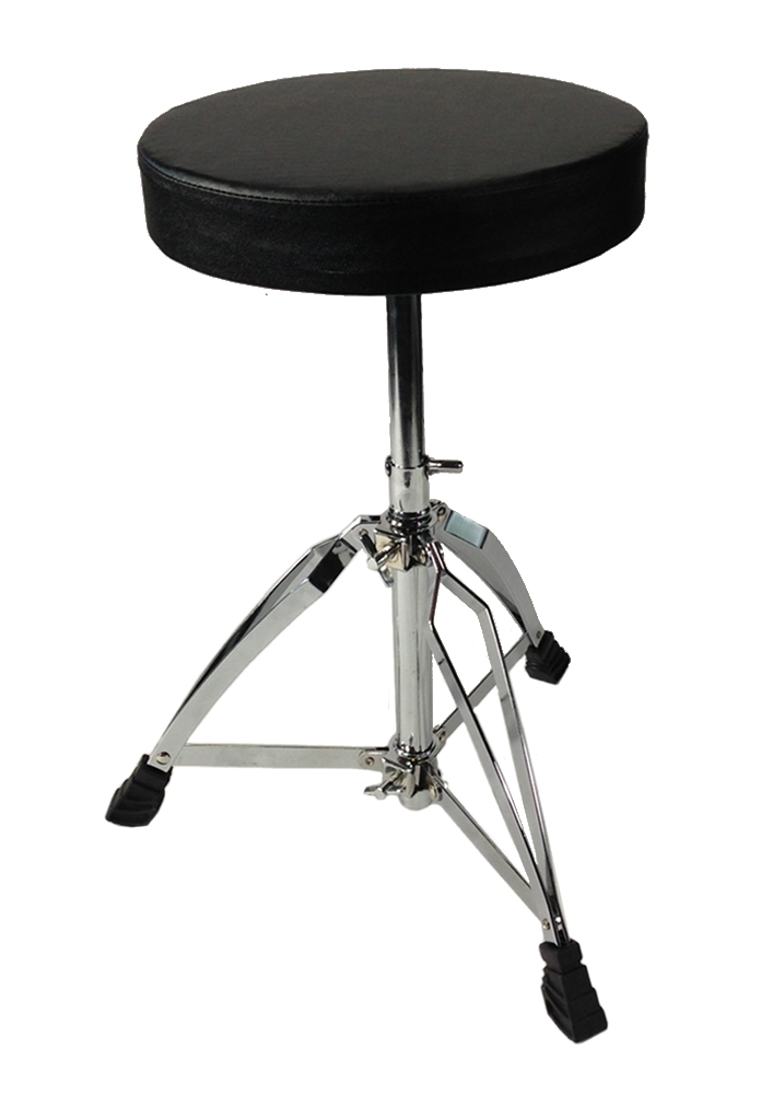 Drum Throne Chrome Double Braced Adjustable Round Swivel Seat Stool by