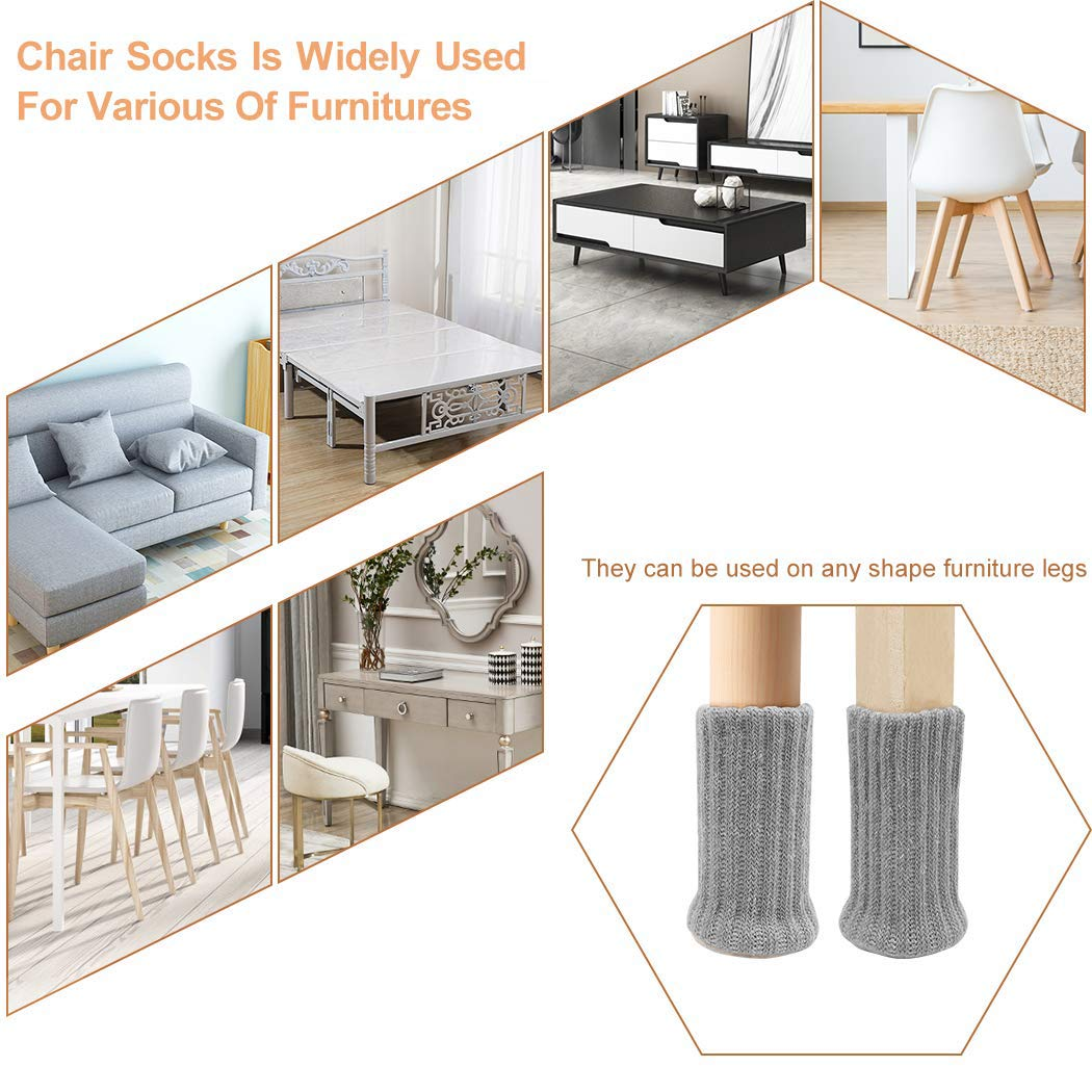 32PCS Chair Socks Furniture Pads Floor Protectors High Elastic Non Slip Chair Leg Feet Socks Covers Furniture Caps Set Fit Diameter from 1 to 2 Knitted Furniture Cups White