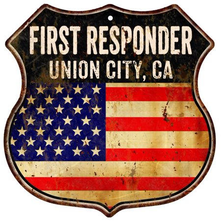 Union City  Ca First Responder American Flag 12X12 Metal Shield Sign S122736