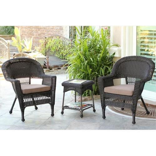 Jeco W00201_2-CES007 3 Piece Espresso Wicker Chair And End Table Set With Brown Chair Cushion