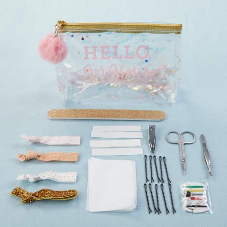 Hello Gorgeous Glitter Bag Survival Kit Our Hello Gorgeous Glitter Survival Kit is a must have gift for everyone in the bridal party.  We at Kate Aspen want to help relieve the stress of your big day by arming you with the tools that every woman may need on the big day with our minimergency kit.  Hair ties that don't leave marks in your hair to fabric tape to help when fabric may bulge, or you want to make sure your dress doesn't move. We included face blotting cloths so your never have to worry about your nerves showing through while keeping your makeup perfect.  There is also a sewing kit with several basic popular colors just in case a zipper blows or a hem falls.  And just like you have come to expect from Kate Aspen the quality of everything in this emergency beauty kit is top notch from our bobby pins that will last all night to tweezers that can get the tiniest hair. There is no problem this kit can't handle, except maybe a runaway groom.Features and Facts:1 vinyl makeup bag, 1 nail clippers, 1 tweezers, 1 scissors, 1 nail file, 4 hair ties, bobby pins, paper clothing tape, oil absorbing wipes, 1 sewing kitClear vinyl makeup bag with iridescent glitter fill and gold accent hardware. Front of bag features pink decal  Hello Gorgeous . Zipper has large fuzzy pink pom pom attached. Survival kit includes: manicure set with nail clippers, tweezers, and scissors, gold glitter nail file, 4 hair ties (gold glitter, metallic rose gold, blush pink, & white with gold dots), bobby pins, paper clothing tape, oil absorbing wipes, and sewing kit.Measurements: Hairties: 2.4  w x 0.6  d x 1.6  hMeasurements: Sewing Kit: 2.2  w x 1.3  d x 1.3  hMeasurements: Nail Clippers: 0.394  w x 2.17  d x 0.39  hMeasurements: Scissors: 3.43  w x 1.73  d x 0.039  hMeasurements: Tweezers: 3.39  w x 0.2  d x 0.2  hMeasurements: Nail File: 7.1  w x 0.8  d x 0.4  hMeasurements: Face Wipes: 3.7  w x 2.6  d x 0.2  hMeasurements: Clothing Tape: 3.6  w x 1.4  d x 0.5  hMeasurements: Bobby Pins: 3  w x 1  d x 0.1  hMeasurements: Case: 7.9  w x 2.6  d x 11  hPackaged Measurements: 6.89  w x 2.5  d x 4.72  h