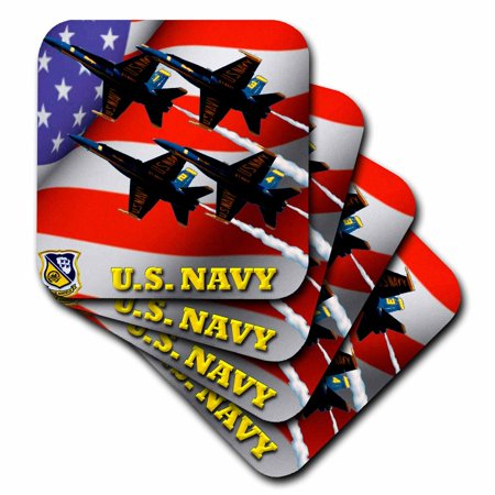 3dRose U.S. Navy Blue Angels , Ceramic Tile Coasters, set of 4