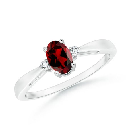 Valentine Jewelry Gift - Tapered Shank Garnet Solitaire Ring with Diamond Accents in Platinum (6x4mm Garnet) - SR0318GD-PT-AAAA-6x4-4.5