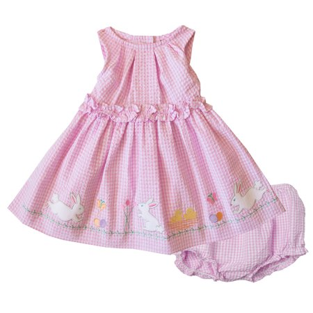 Good Lad Newborn/Infant Girls Pink Seersucker Dress with Bunny Appliques and Panty ()